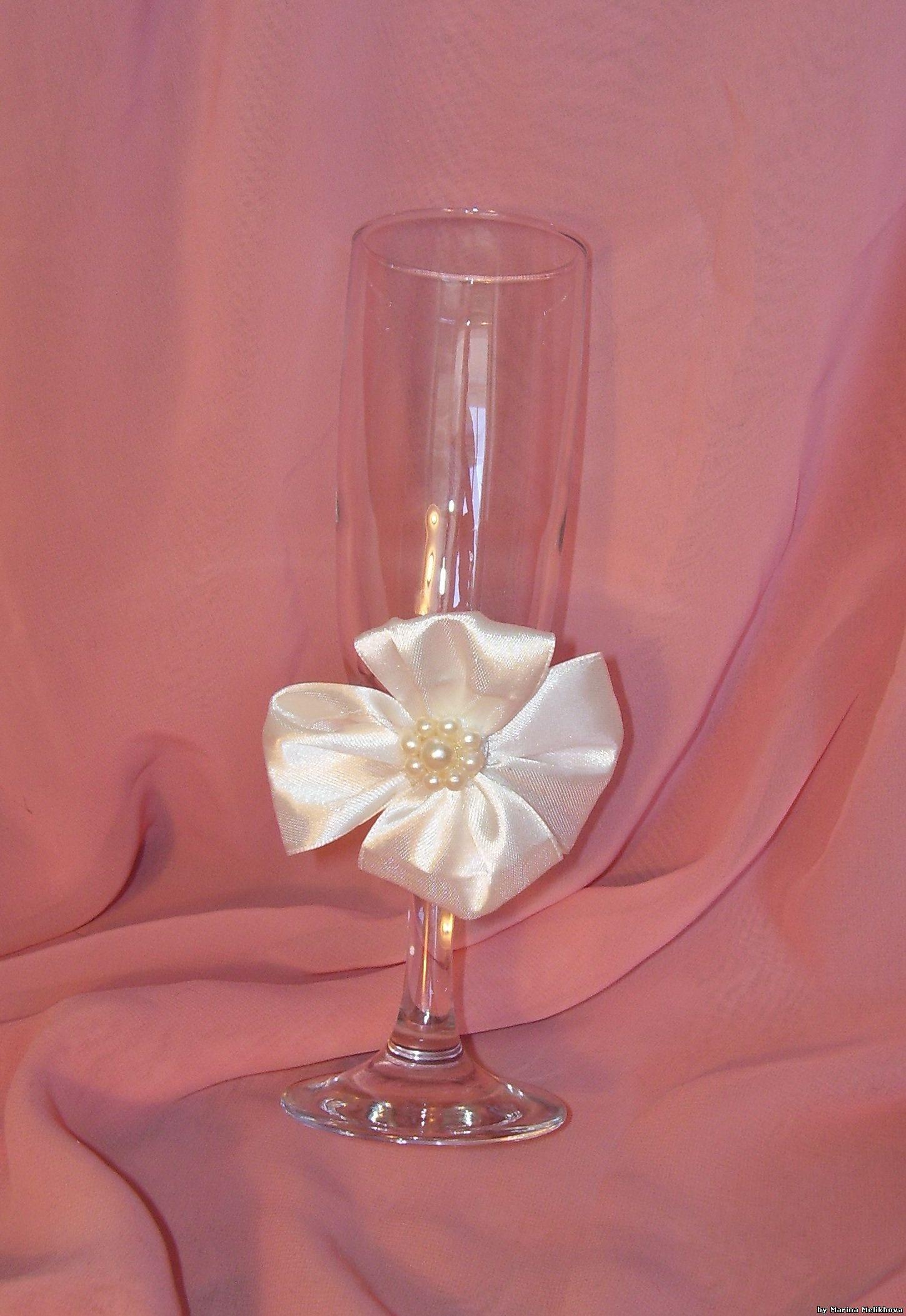 Как украсить бокалы на свадьбу 27